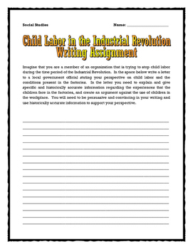 Industrial Revolution and Child Labor - Source Analysis Questions, Assignment