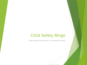 Child Safety Bingo Activity for Child Development, Child Guidance, FACS, etc