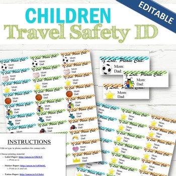 EDITABLE Child Safety ID Labels/Stickers/Tattoos