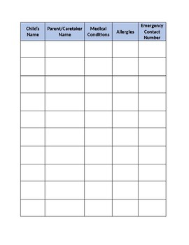 Child Sign-In Sheet (Allergies, Medical Conditions, Emergency Contact)