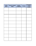 Child Sign-In Sheet (Allergies, Medical Conditions, Emerge