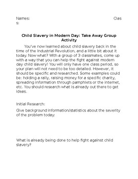 Child Slavery in Modern Day: Take Away Group Activity