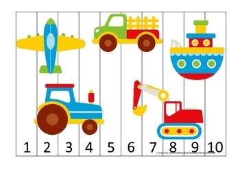 child care transportation themed number sequence puzzle. Black Bedroom Furniture Sets. Home Design Ideas