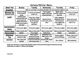 Childcare daycare menu for Autumn Winter plus recipes for 80 to 100 children