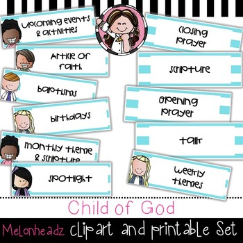 Child of God clip art and printable set - by Melonheadz