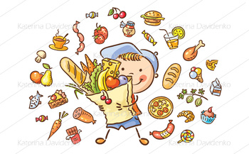 Child with a big bag full of food and isolated food set