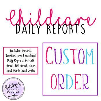 Childcare Daily Reports  (Daycare)- CUSTOM ORDER