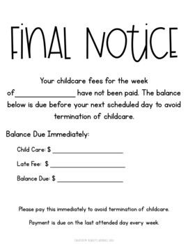 Childcare Late Fee Forms