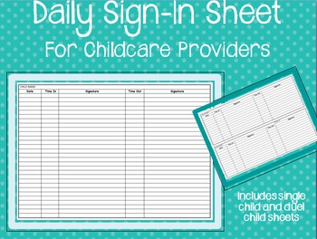 Childcare Sign-in Sheets