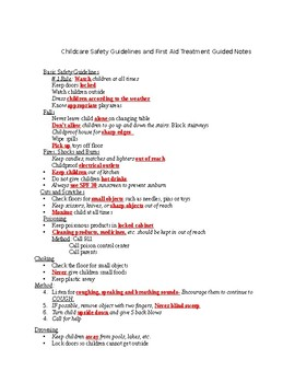 Childcare safety with guided notes and key