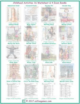 Childhood Activities 16 Worksheet- 4 Exam Bundle
