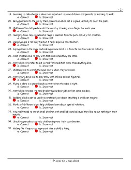 Childhood Activities Correct-Incorrect Exam