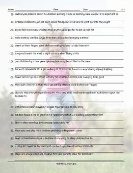Childhood Activities Scrambled Sentences Worksheet