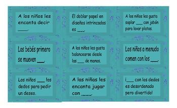 Childhood Activities Spanish Card Game