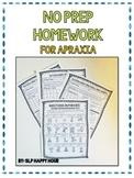 Childhood Apraxia of Speech: Apraxia Homework Packet {No P