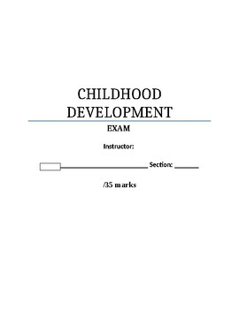 Childhood Development Sample Exam Questions with Answer Key