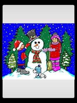 Children Building Snowman: Free Commercial Clip Art