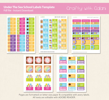 Children School Name Labels in Donuts Theme with Editable Text