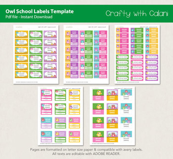 Children School Name Labels in Owl Theme with Editable Text