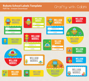 Children School Name Labels in Robot Theme with Editable Text