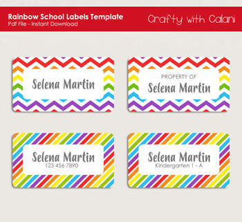 Children School Name Labels in Unicorn Theme with Editable Text