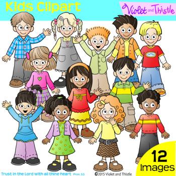 Kids Clipart Kids Clip Art Children Kids Clipart Multiracial Set 1 Backpack Kids