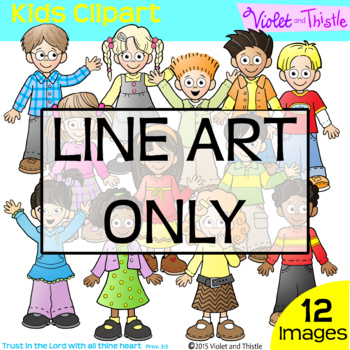 Backpack Kids Line Art Set 1 Clipart Clip Art Children Kids Clipart Multiracial