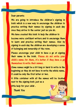 FREE Children Sign In Book Note For Parents