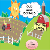 "Children Song: ""Old Mac Donald"" Picture Cards, Sheet Music plus STEAM worksheets"