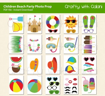 Children Summer Beach and Pool Party Photo Booth Props, 47 ready print images