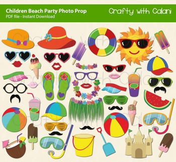 Children Summer Beach And Pool Party Photo Booth Props 47 Ready