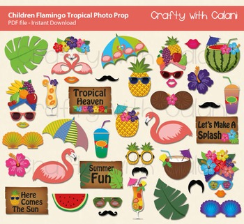 Children Summer Themed Flamingo Tropical Party Photo Booth Prop