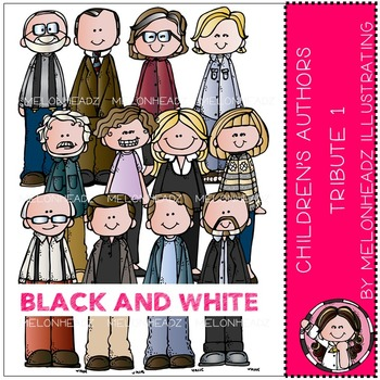 Children - Youth Authors tribute clip art Part 1- BLACK AND WHITE- by Melonheadz