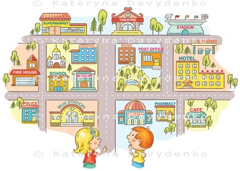 Children asking and telling the way to different city buildings