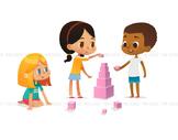Children building blocks - Illustrated Clipart Graphic