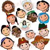 Children faces from around the world clipart