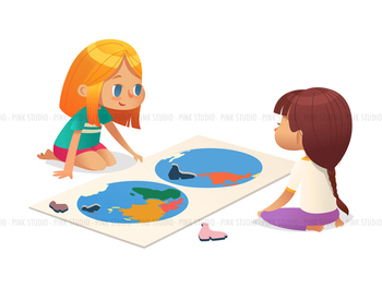 Children learning geography - Illustrated Clipart Graphic