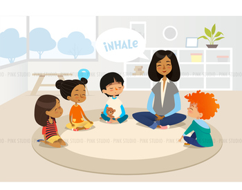 Children meditating in classroom - Illustrated Clipart Graphic