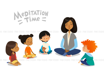 Children meditating in classroom - Illustrated Clipart ...