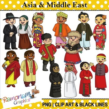 Children of the World clip art Asia and Middle East