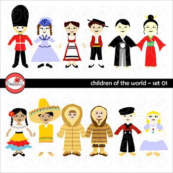 Children of the World (Set 01) Clipart by Poppydreamz