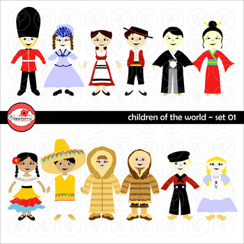 Children of the World (Set 01) Clipart by Poppydreamz