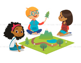 Children playing in nature - Illustrated Clipart Graphic