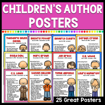 Children's Author Anchor Chart Posters Set