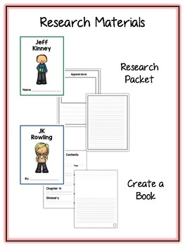 Children's Authors 2 Research Project 17 People Vocab Cards, Packet, Book & More