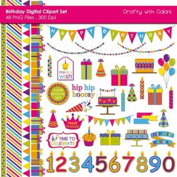 Children's Birthday Clip Art Set in Bright Color