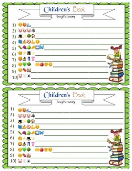 Childrens book emoji pictionary answers