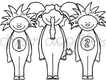 Children's Book Friends Digital Clip Art Set- Black Line Version