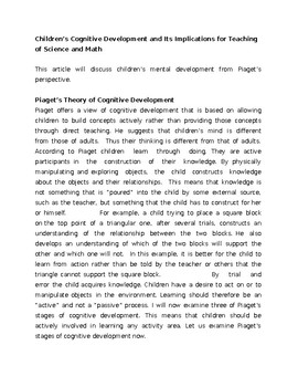 Children's Cognitive Development and Its Implications for Teaching of Science an