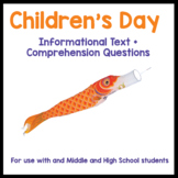 Children's Day Japan - text and reading comprehension activities